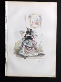 Grandville 1842 Hand Col Print. Bird with Fan